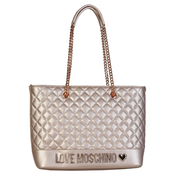 4a6ead56a6 Love Moschino Bags | Quilted Metallic Tote Handbag | Poshmark
